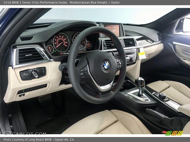 Mediterranean Blue Metallic / Oyster 2018 BMW 3 Series 330e iPerformance Sedan