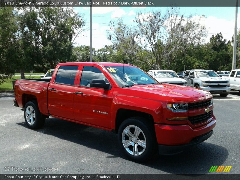 Red Hot / Dark Ash/Jet Black 2018 Chevrolet Silverado 1500 Custom Crew Cab 4x4