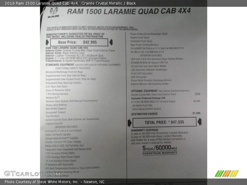 2019 1500 Laramie Quad Cab 4x4 Window Sticker