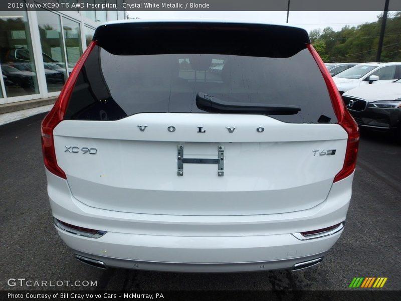 Crystal White Metallic / Blonde 2019 Volvo XC90 T6 AWD Inscription
