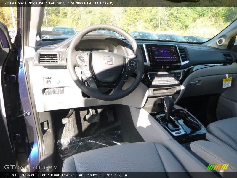Obsidian Blue Pearl / Gray 2019 Honda Ridgeline RTL-E AWD