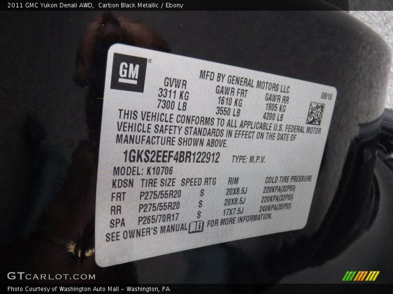Carbon Black Metallic / Ebony 2011 GMC Yukon Denali AWD