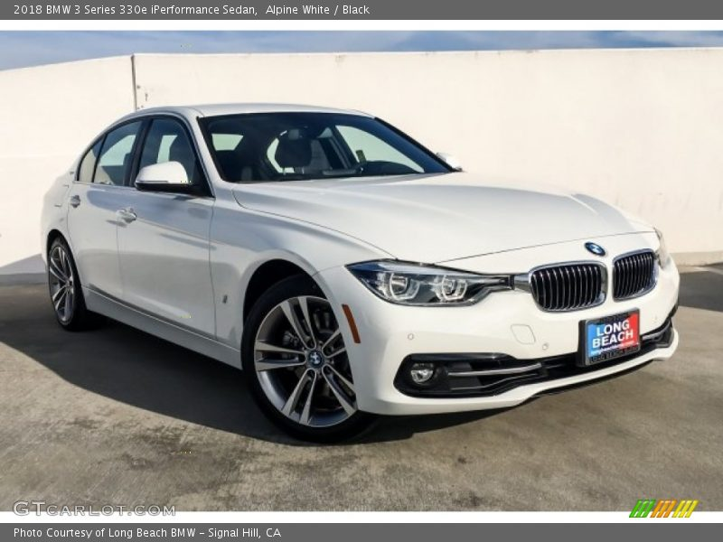 Alpine White / Black 2018 BMW 3 Series 330e iPerformance Sedan