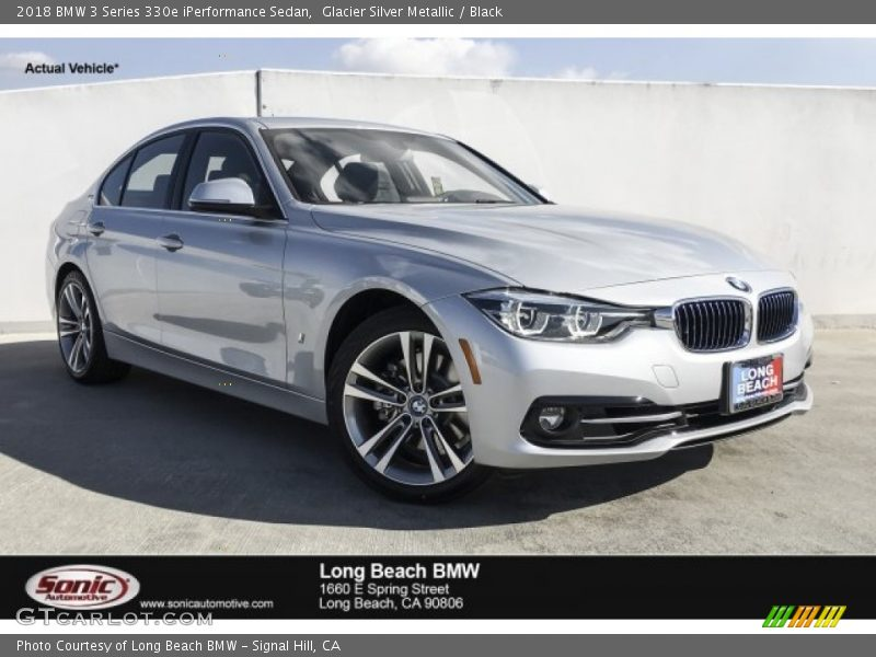 Glacier Silver Metallic / Black 2018 BMW 3 Series 330e iPerformance Sedan