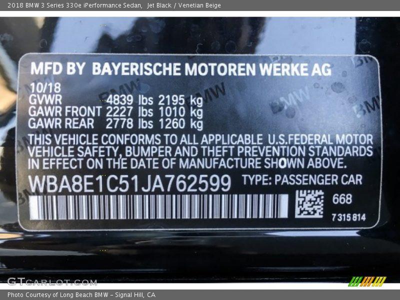 Jet Black / Venetian Beige 2018 BMW 3 Series 330e iPerformance Sedan