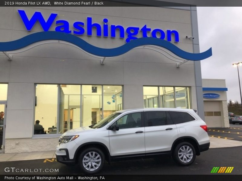 White Diamond Pearl / Black 2019 Honda Pilot LX AWD