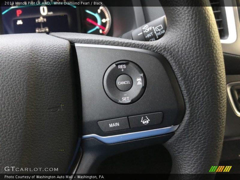 White Diamond Pearl / Black 2019 Honda Pilot LX AWD