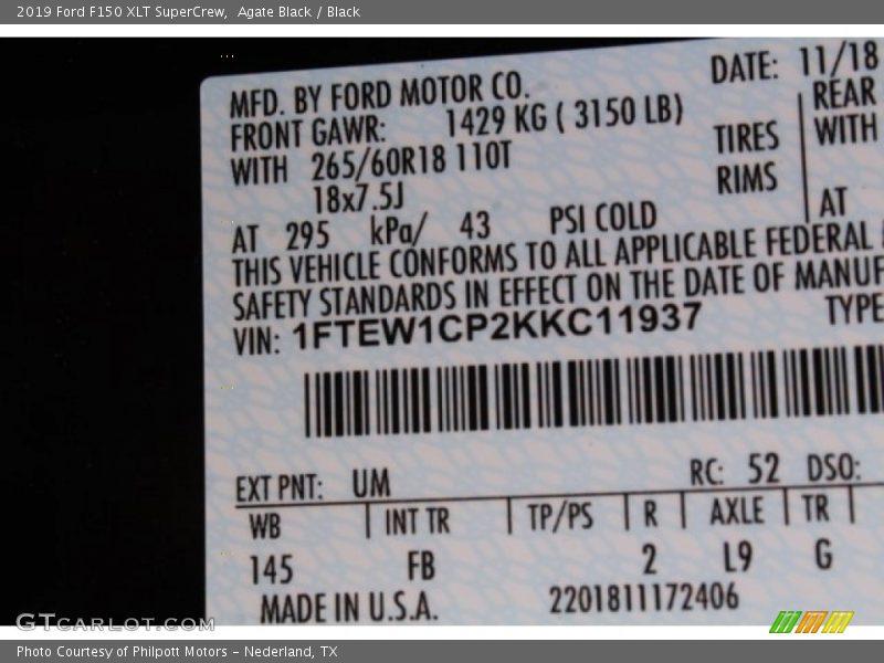 Agate Black / Black 2019 Ford F150 XLT SuperCrew