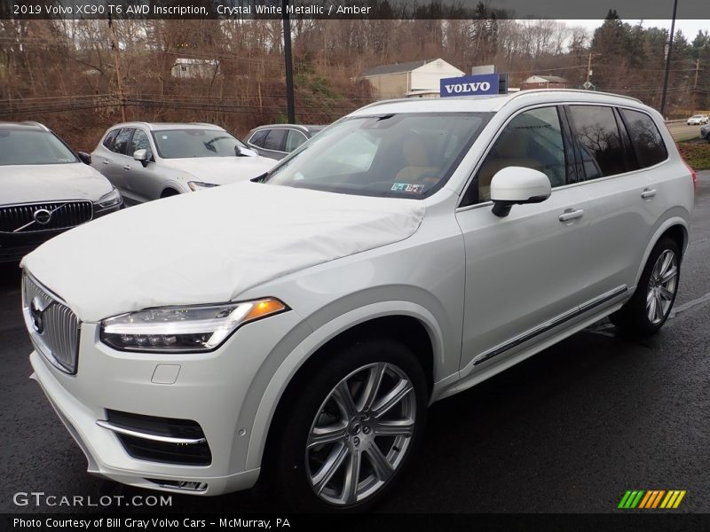 Crystal White Metallic / Amber 2019 Volvo XC90 T6 AWD Inscription