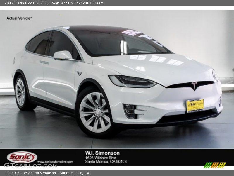 Pearl White Multi-Coat / Cream 2017 Tesla Model X 75D