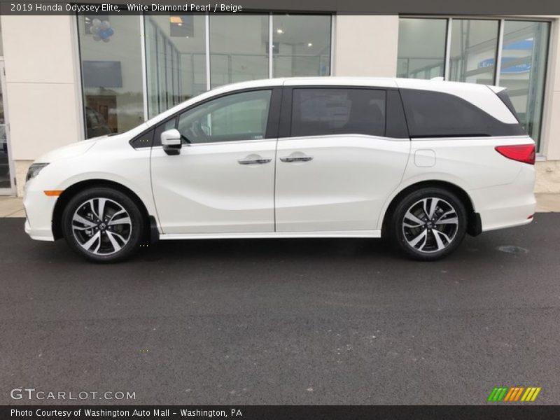 White Diamond Pearl / Beige 2019 Honda Odyssey Elite