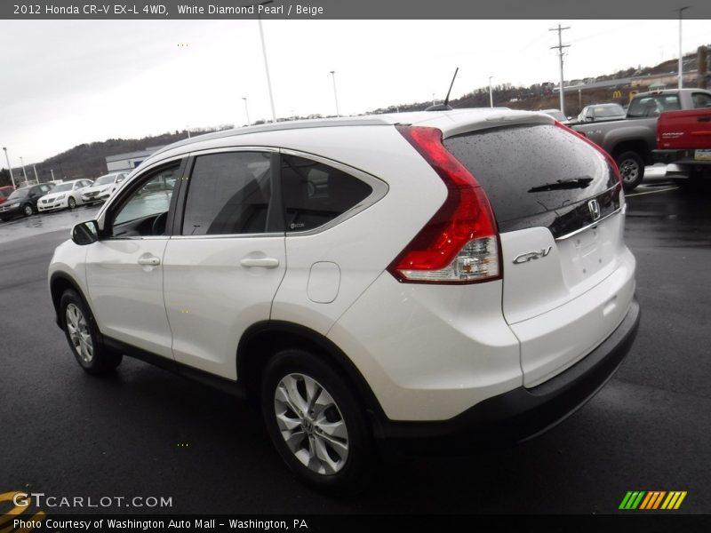 White Diamond Pearl / Beige 2012 Honda CR-V EX-L 4WD