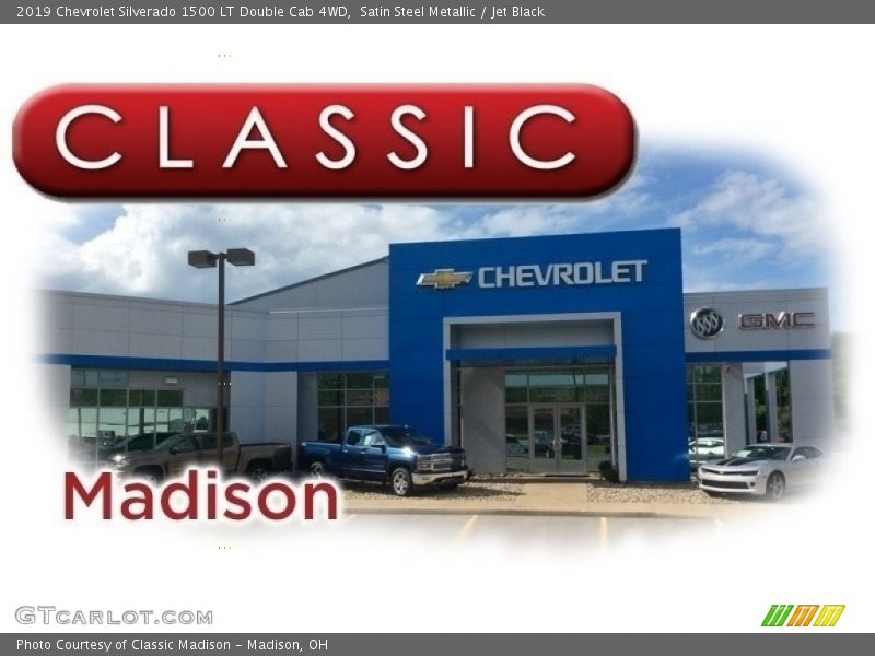Satin Steel Metallic / Jet Black 2019 Chevrolet Silverado 1500 LT Double Cab 4WD