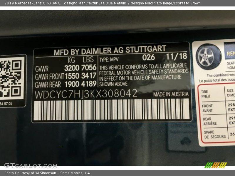 2019 G 63 AMG designo Manufaktur Sea Blue Metallic Color Code 026