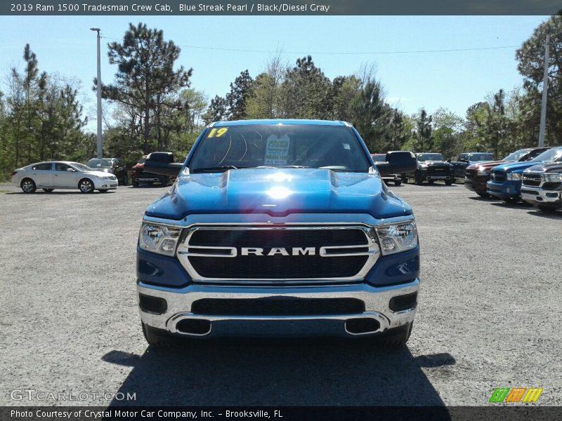 Blue Streak Pearl / Black/Diesel Gray 2019 Ram 1500 Tradesman Crew Cab