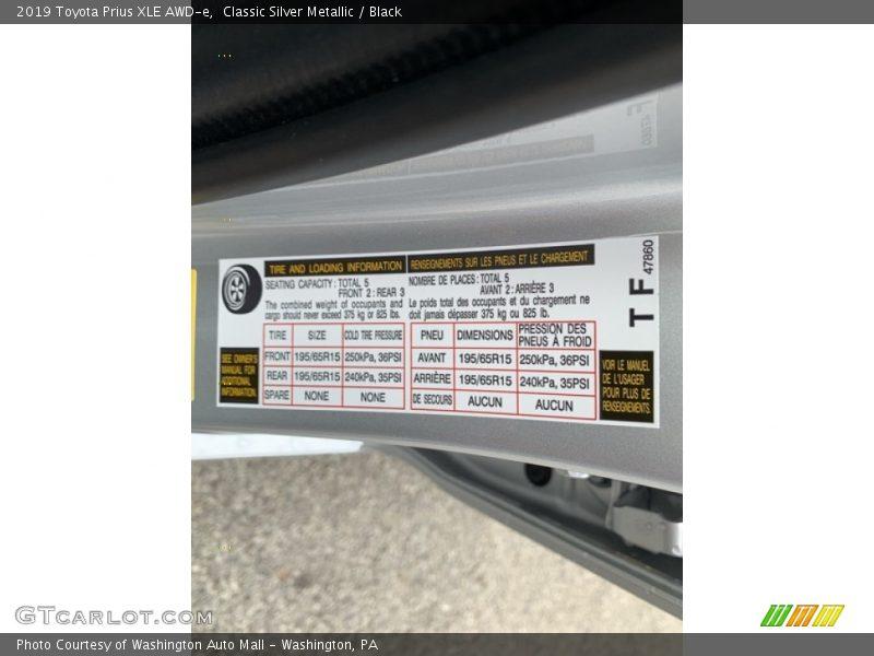 Info Tag of 2019 Prius XLE AWD-e