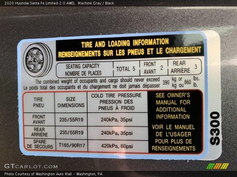 Info Tag of 2020 Santa Fe Limited 2.0 AWD