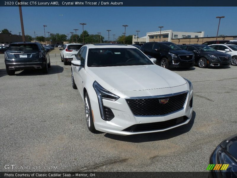 Crystal White Tricoat / Dark Auburn 2020 Cadillac CT6 Luxury AWD