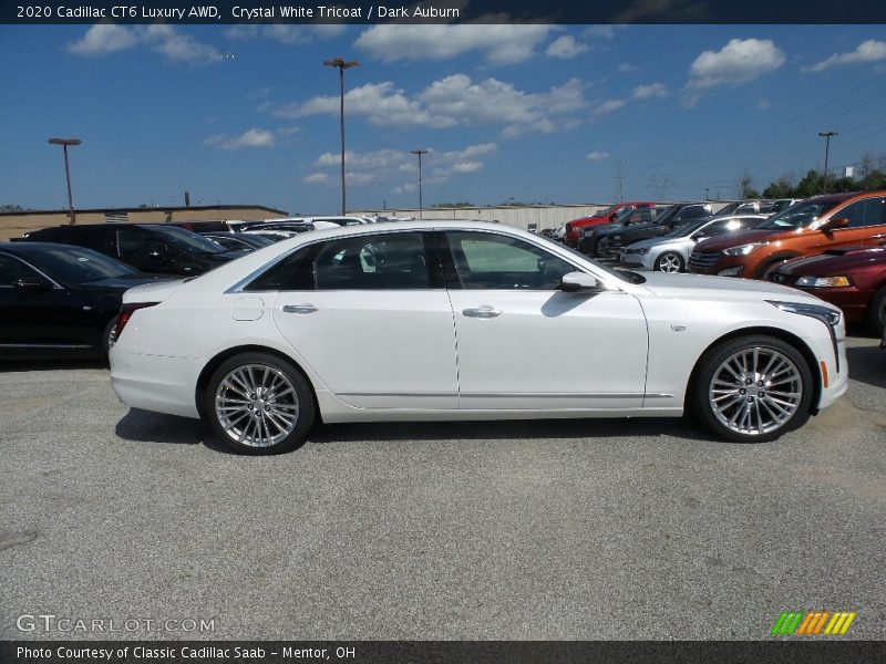 Crystal White Tricoat / Dark Auburn 2020 Cadillac CT6 Luxury AWD