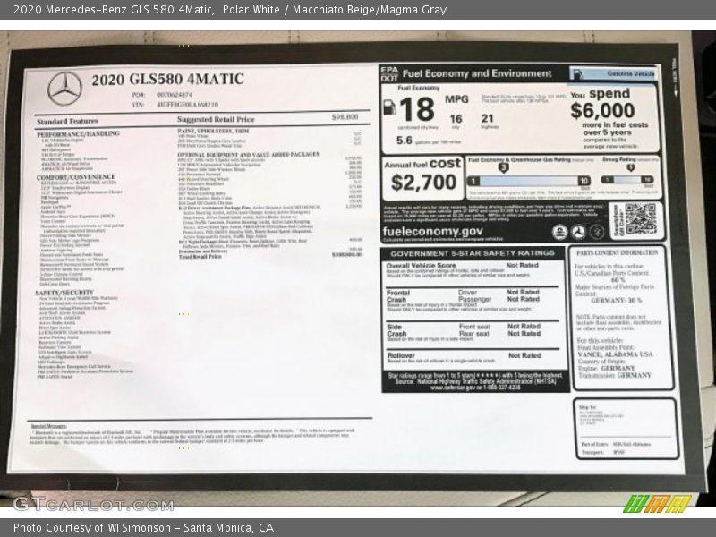 2020 GLS 580 4Matic Window Sticker
