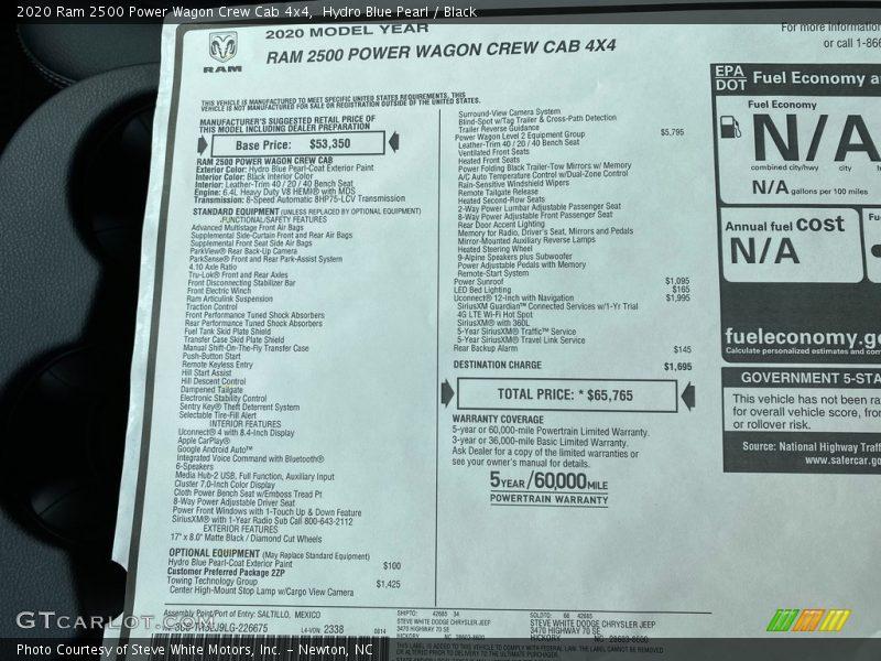 2020 2500 Power Wagon Crew Cab 4x4 Window Sticker