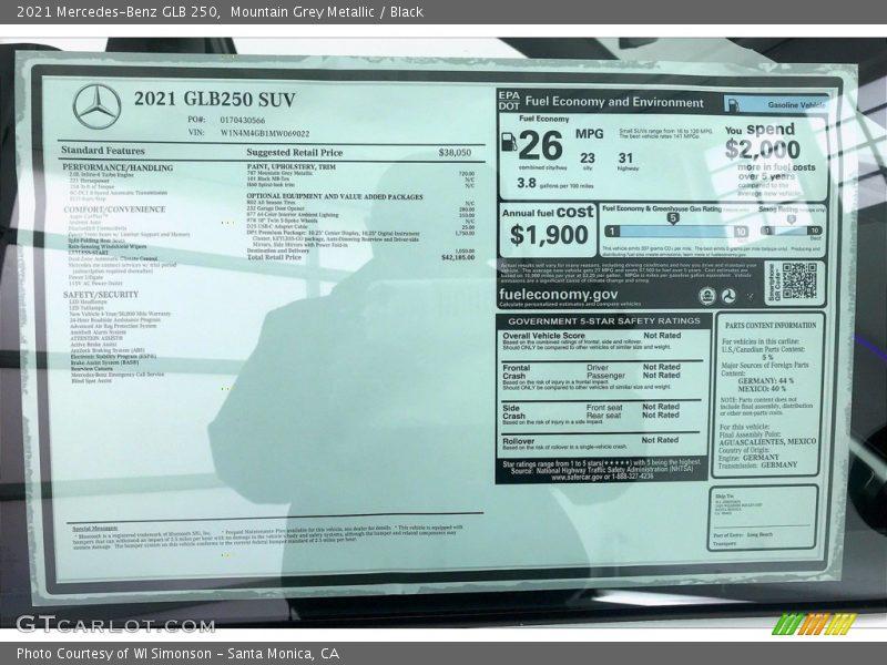 2021 GLB 250 Window Sticker