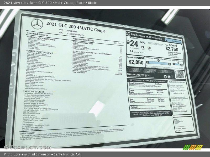 2021 GLC 300 4Matic Coupe Window Sticker
