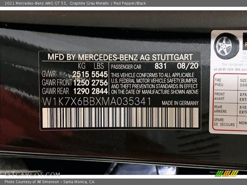 2021 AMG GT 53 Graphite Gray Metallic Color Code 831