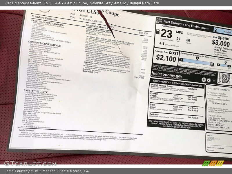 2021 CLS 53 AMG 4Matic Coupe Window Sticker