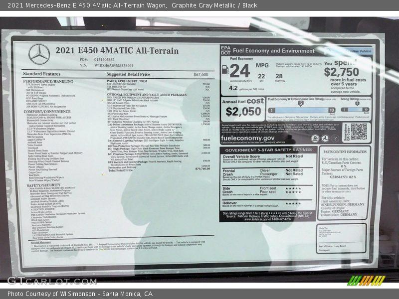 2021 E 450 4Matic All-Terrain Wagon Window Sticker