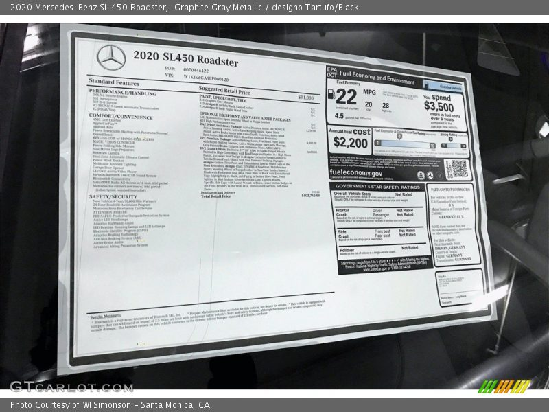2020 SL 450 Roadster Window Sticker