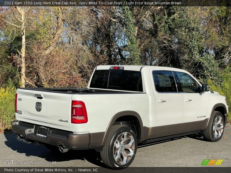 Ivory White Tri-Coat Pearl / Light Frost Beige/Mountain Brown 2021 Ram 1500 Long Horn Crew Cab 4x4