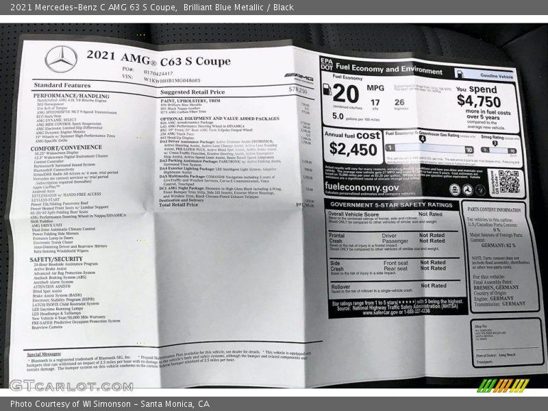 2021 C AMG 63 S Coupe Window Sticker
