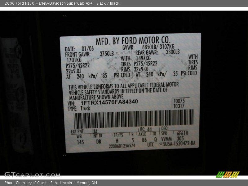 Black / Black 2006 Ford F150 Harley-Davidson SuperCab 4x4