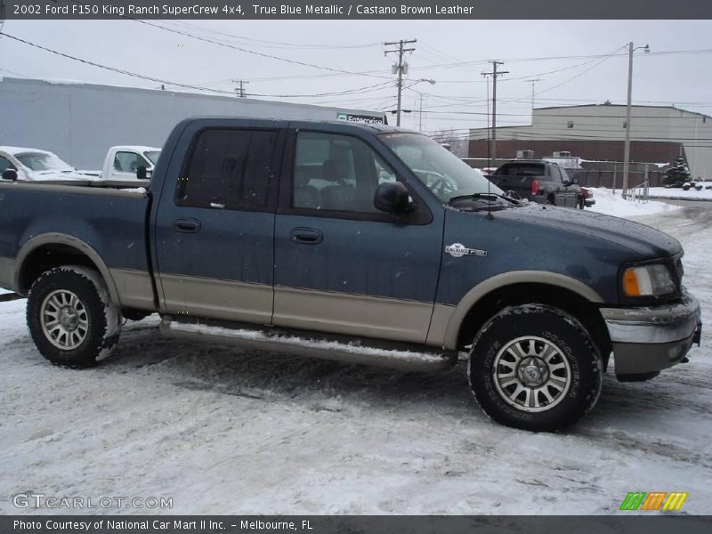 True Blue Metallic / Castano Brown Leather 2002 Ford F150 King Ranch SuperCrew 4x4