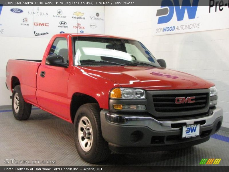 2005 gmc sierra 1500 work truck regular cab 4x4 in fire red photo no 27379995. Black Bedroom Furniture Sets. Home Design Ideas
