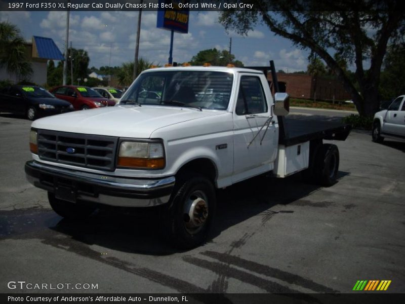 1997 ford f350 xl regular cab dually chassis flat bed in oxford white photo no 30407775. Black Bedroom Furniture Sets. Home Design Ideas