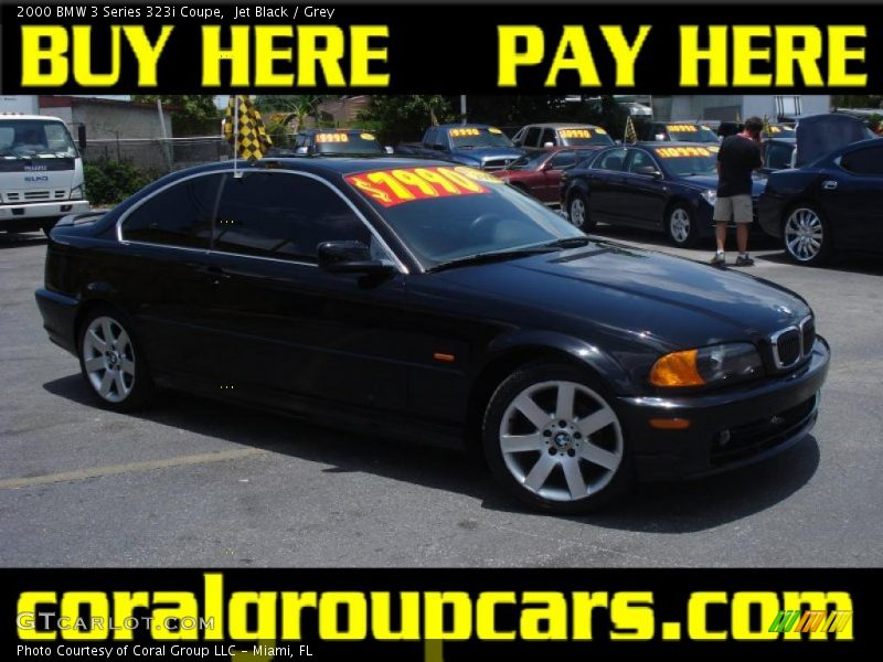 Jet Black / Grey 2000 BMW 3 Series 323i Coupe