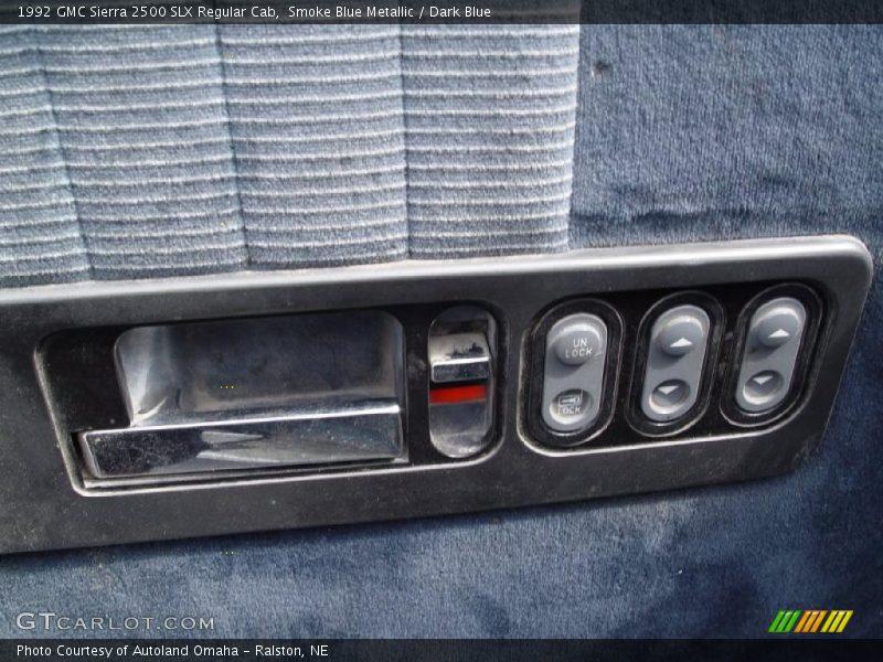 Smoke Blue Metallic / Dark Blue 1992 GMC Sierra 2500 SLX Regular Cab
