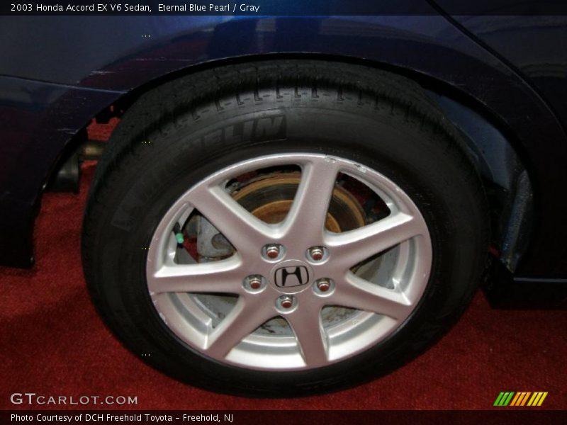 Eternal Blue Pearl / Gray 2003 Honda Accord EX V6 Sedan