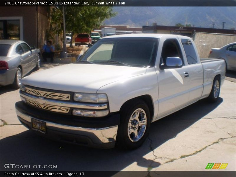 Summit White / Tan 2001 Chevrolet Silverado 1500 LS Extended Cab