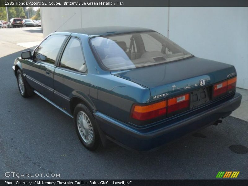 Brittany Blue Green Metallic / Tan 1989 Honda Accord SEi Coupe