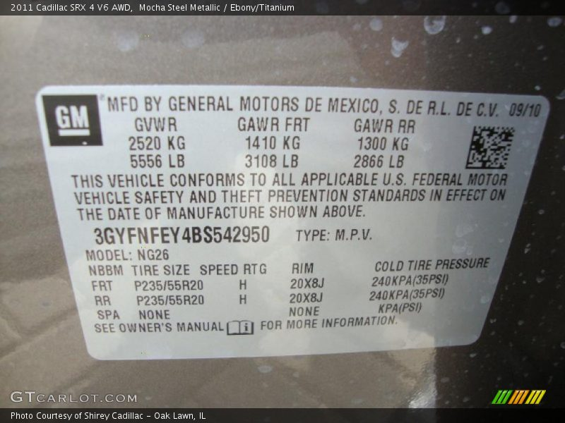 Info Tag of 2011 SRX 4 V6 AWD