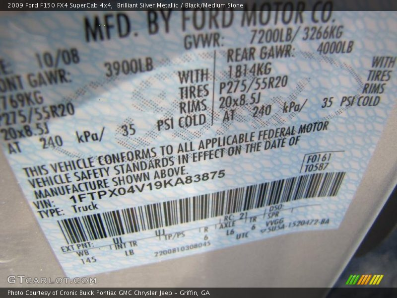 2009 F150 FX4 SuperCab 4x4 Brilliant Silver Metallic Color Code UI
