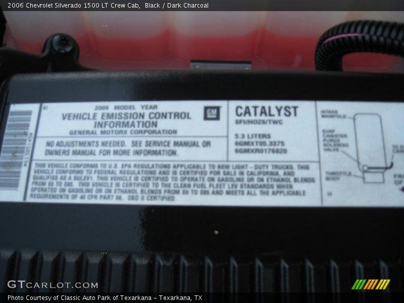 Info Tag of 2006 Silverado 1500 LT Crew Cab