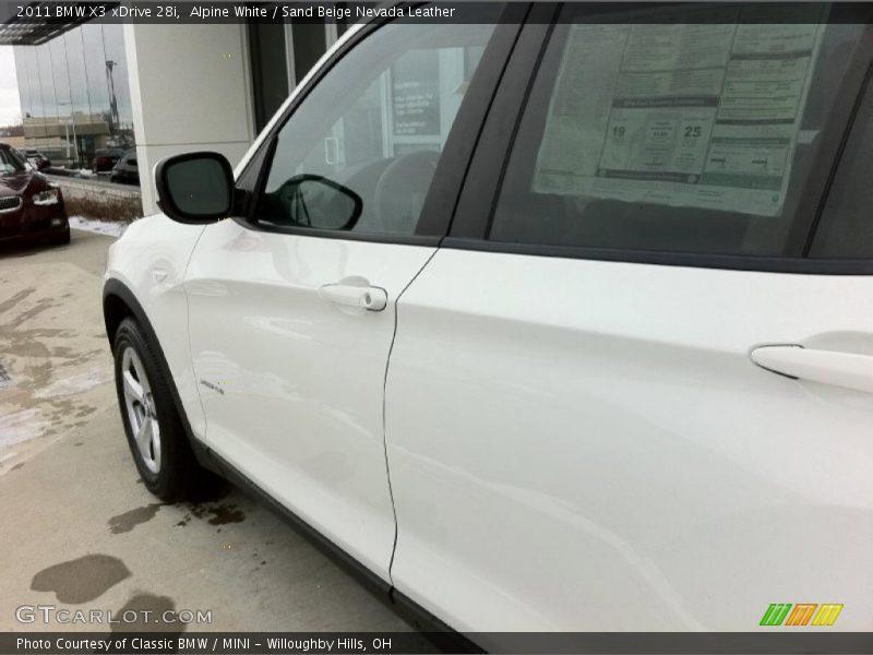 Alpine White / Sand Beige Nevada Leather 2011 BMW X3 xDrive 28i