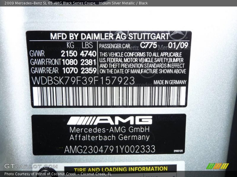 Info Tag of 2009 SL 65 AMG Black Series Coupe