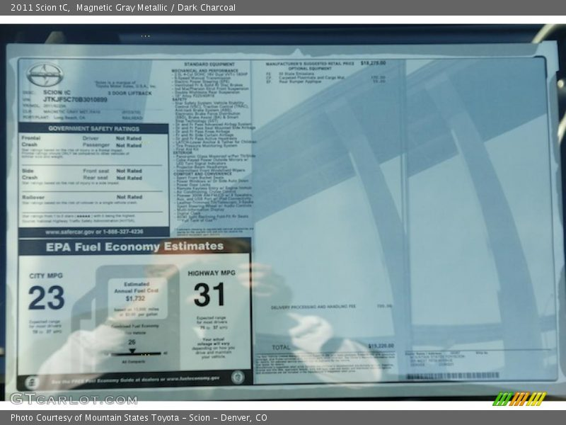 2011 tC  Window Sticker