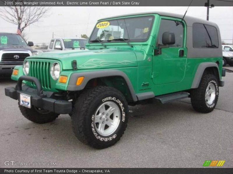 2005 jeep wrangler unlimited 4x4 in electric lime green. Black Bedroom Furniture Sets. Home Design Ideas