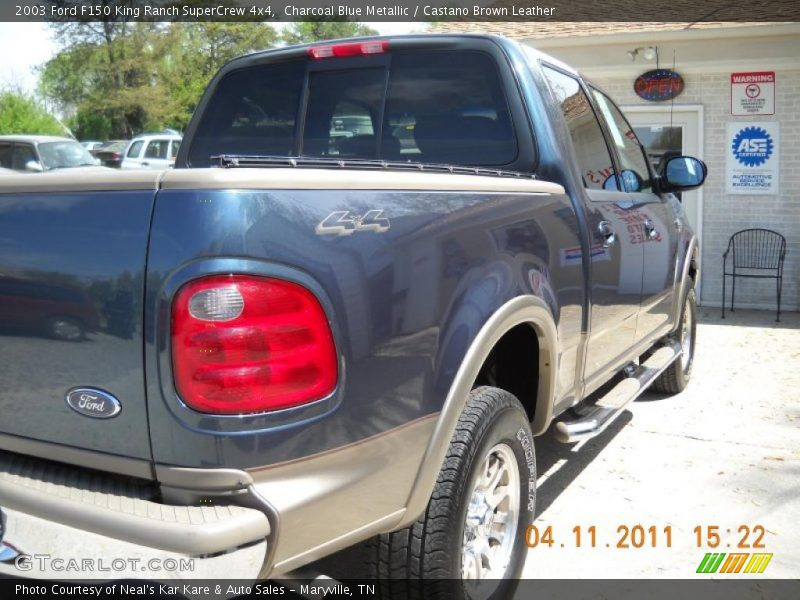 Charcoal Blue Metallic / Castano Brown Leather 2003 Ford F150 King Ranch SuperCrew 4x4
